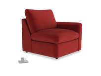 Chatnap Storage Single Seat in Rusted Ruby Vintage Velvet with a right arm