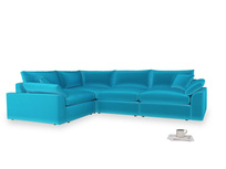 Large left hand Cuddlemuffin Modular Corner Sofa in Azure plush velvet