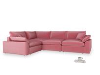 Large left hand Cuddlemuffin Modular Corner Sofa in Blushed pink vintage velvet