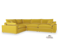 Large left hand Cuddlemuffin Modular Corner Sofa in Bumblebee clever velvet
