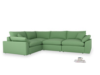 Large left hand Cuddlemuffin Modular Corner Sofa in Clean green Brushed Cotton