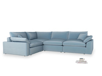 Large left hand Cuddlemuffin Modular Corner Sofa in Chalky blue vintage velvet