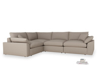 Large left hand Cuddlemuffin Modular Corner Sofa in Driftwood brushed cotton