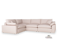 Large left hand Cuddlemuffin Modular Corner Sofa in Faded Pink brushed cotton