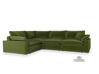 Large left hand Cuddlemuffin Modular Corner Sofa in Good green Clever Deep Velvet