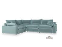 Large left hand Cuddlemuffin Modular Corner Sofa in Lagoon clever velvet