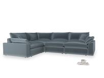 Large left hand Cuddlemuffin Modular Corner Sofa in Mermaid plush velvet