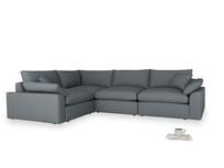 Large left hand Cuddlemuffin Modular Corner Sofa in Meteor grey clever linen