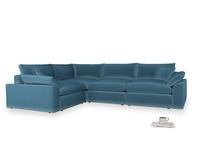 Large left hand Cuddlemuffin Modular Corner Sofa in Old blue Clever Deep Velvet
