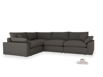 Large left hand Cuddlemuffin Modular Corner Sofa in Old Charcoal brushed cotton