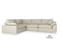 Large left hand Cuddlemuffin Modular Corner Sofa in Pale rope clever linen