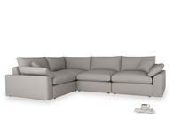 Large left hand Cuddlemuffin Modular Corner Sofa in Safe grey clever linen