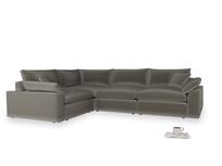 Large left hand Cuddlemuffin Modular Corner Sofa in Slate clever velvet