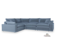Large left hand Cuddlemuffin Modular Corner Sofa in Winter Sky clever velvet