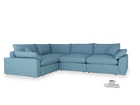 Large left hand Cuddlemuffin Modular Corner Sofa in Moroccan blue clever woolly fabric