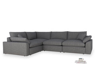 Large left hand Cuddlemuffin Modular Corner Sofa in Strong grey clever woolly fabric