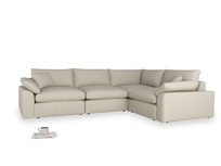 Large right hand Cuddlemuffin Modular Corner Sofa in Thatch house fabric