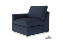 Chatnap Storage Single Seat in Night Owl Blue Clever Woolly Fabric with a left arm