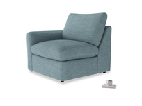 Chatnap Storage Single Seat in Soft Blue Clever Laundered Linen with a left arm