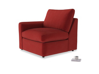 Chatnap Storage Single Seat in Rusted Ruby Vintage Velvet with a left arm