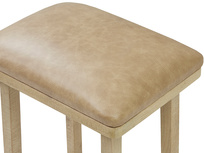 Tall Bumpkin bar stool leather top detail