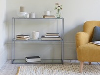 Low Wolfie low glass and metal shelves