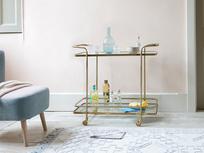 Big Soak antique brass drinks trolley