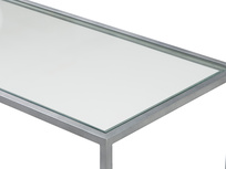 Low Wolfie glass and metal shelf top detail