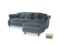 Large right hand Sloucher Chaise Sofa in Odyssey Clever Deep Velvet