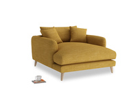 Squishmeister Love Seat Chaise in Mellow Yellow Clever Laundered Linen