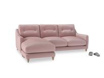 Large left hand Slim Jim Chaise Sofa in Chalky Pink vintage velvet