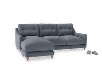 Large left hand Slim Jim Chaise Sofa in Blue Storm washed cotton linen