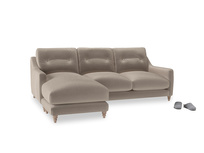 Large left hand Slim Jim Chaise Sofa in Fawn clever velvet