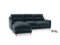 Large left hand Slim Jim Chaise Sofa in Bluey Grey Clever Deep Velvet