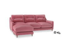 Large left hand Slim Jim Chaise Sofa in Blushed pink vintage velvet