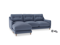 Large left hand Slim Jim Chaise Sofa in Breton blue clever cotton