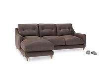 Large left hand Slim Jim Chaise Sofa in Dark Chocolate beaten leather