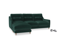 Large left hand Slim Jim Chaise Sofa in Dark green Clever Velvet