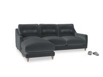 Large left hand Slim Jim Chaise Sofa in Dark grey Clever Deep Velvet