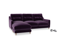 Large left hand Slim Jim Chaise Sofa in Deep Purple Clever Deep Velvet