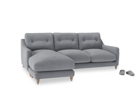 Large left hand Slim Jim Chaise Sofa in Dove grey wool