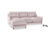 Large left hand Slim Jim Chaise Sofa in Dusky blossom washed cotton linen