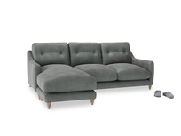 Large left hand Slim Jim Chaise Sofa in Faded Charcoal beaten leather