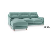Large left hand Slim Jim Chaise Sofa in Greeny Blue Clever Deep Velvet
