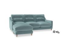 Large left hand Slim Jim Chaise Sofa in Lagoon clever velvet