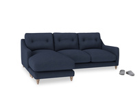 Large left hand Slim Jim Chaise Sofa in Night Owl Blue Clever Woolly Fabric