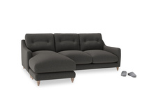 Large left hand Slim Jim Chaise Sofa in Old Charcoal brushed cotton