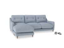 Large left hand Slim Jim Chaise Sofa in Frost clever woolly fabric