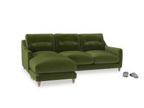 Large left hand Slim Jim Chaise Sofa in Good green Clever Deep Velvet
