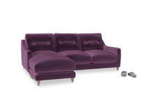 Large left hand Slim Jim Chaise Sofa in Grape clever velvet